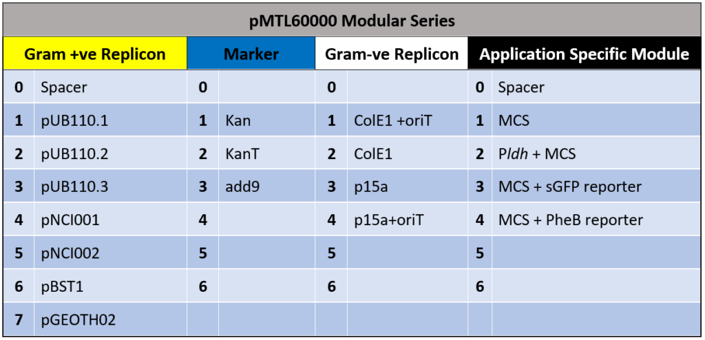 Geobacillus pMTL60000 Modular Series